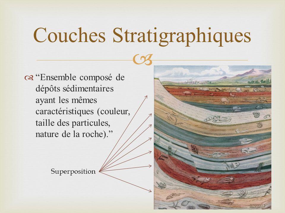 Couches Stratigraphiques Ensemble composé de dépôts sédimentaires ayant les mêmes caractéristiques (couleur, taille des particules, nature de la roche