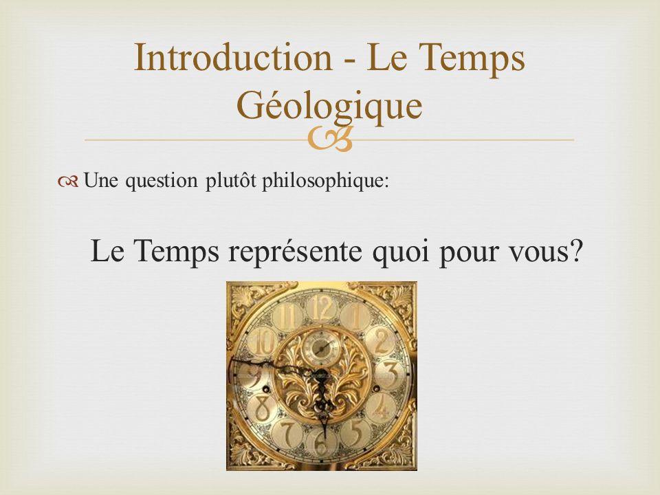 Une question plutôt philosophique: Le Temps représente quoi pour vous? Introduction - Le Temps Géologique