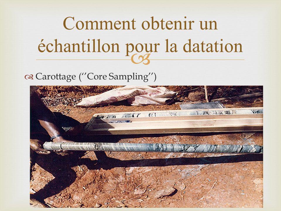Carottage (Core Sampling) Comment obtenir un échantillon pour la datation