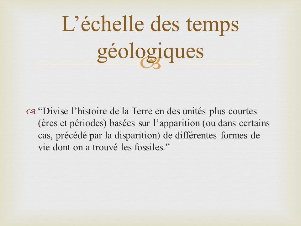 Divise lhistoire de la Terre en des unités plus courtes (ères et périodes) basées sur lapparition (ou dans certains cas, précédé par la disparition) de différentes formes de vie dont on a trouvé les fossiles.