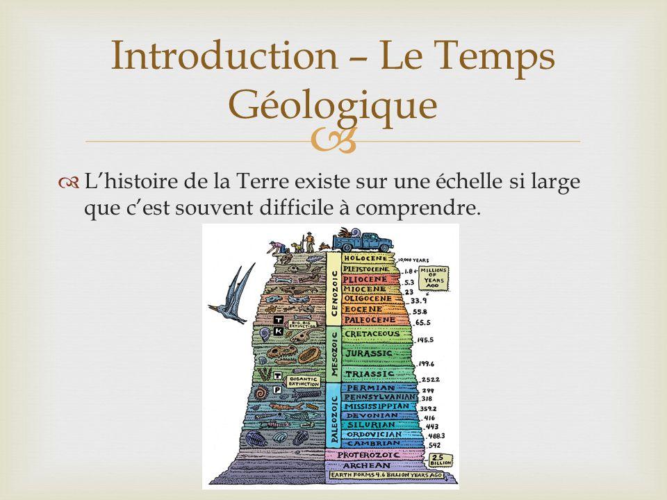 Lhistoire de la Terre existe sur une échelle si large que cest souvent difficile à comprendre. Introduction – Le Temps Géologique