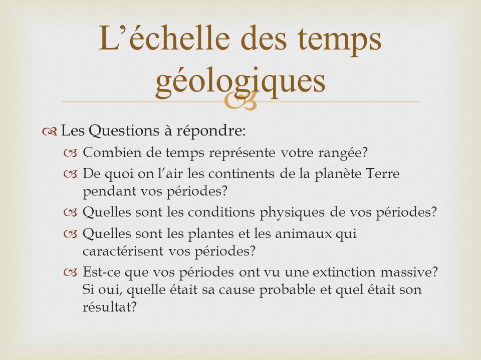Léchelle des temps géologiques Les Questions à répondre: Combien de temps représente votre rangée? De quoi on lair les continents de la planète Terre