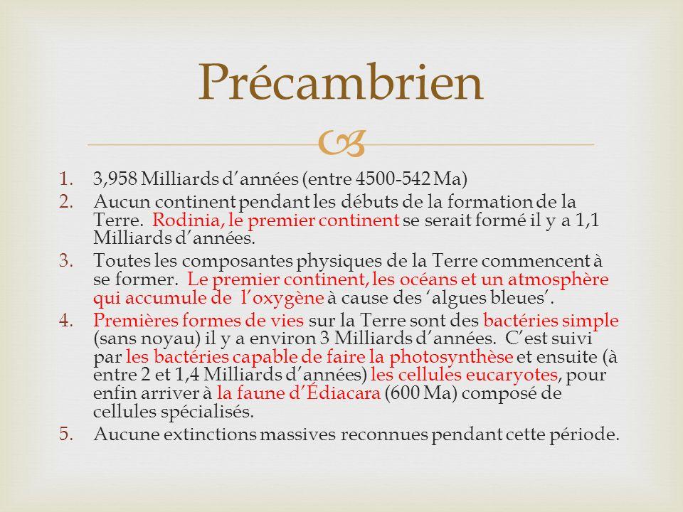 Précambrien 1.3,958 Milliards dannées (entre 4500-542 Ma) 2.Aucun continent pendant les débuts de la formation de la Terre.