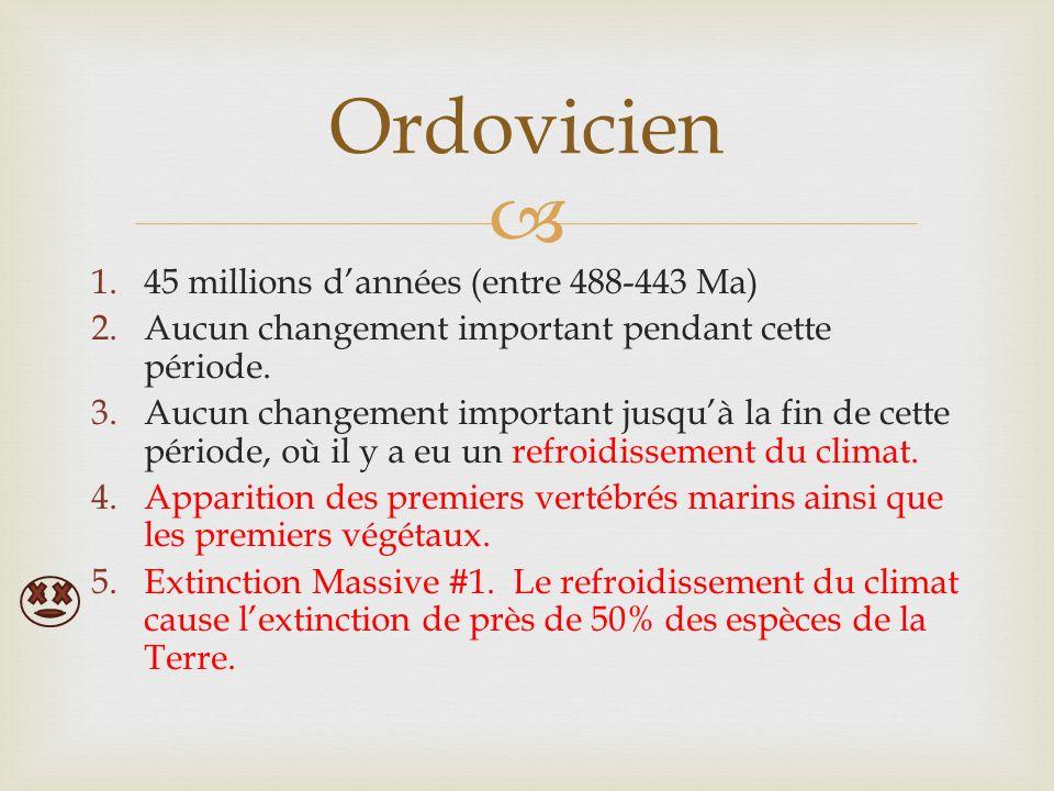 1.45 millions dannées (entre 488-443 Ma) 2.Aucun changement important pendant cette période.