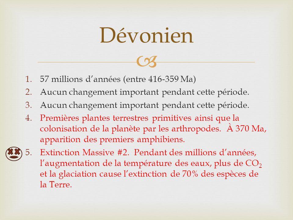1.57 millions dannées (entre 416-359 Ma) 2.Aucun changement important pendant cette période.