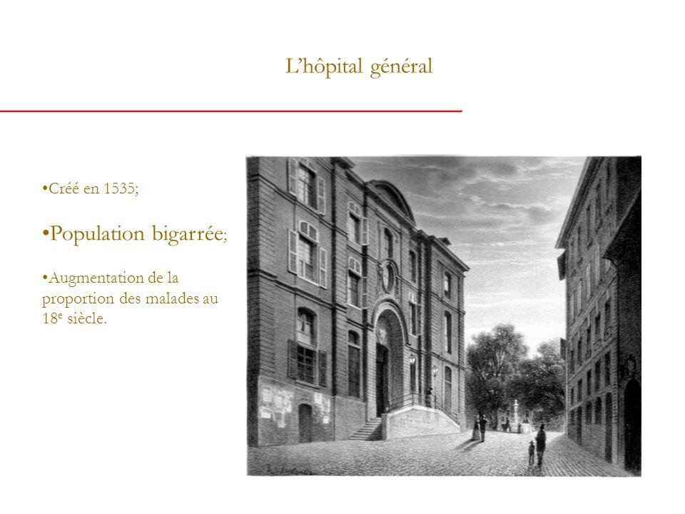Lhôpital général Créé en 1535; Population bigarrée ; Augmentation de la proportion des malades au 18 e siècle.