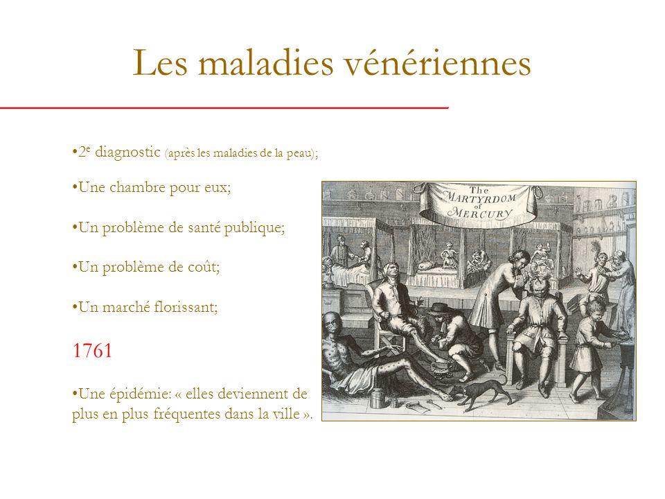 Les maladies vénériennes 2 e diagnostic (après les maladies de la peau); Une chambre pour eux; Un problème de santé publique; Un problème de coût; Un marché florissant; 1761 Une épidémie: « elles deviennent de plus en plus fréquentes dans la ville ».