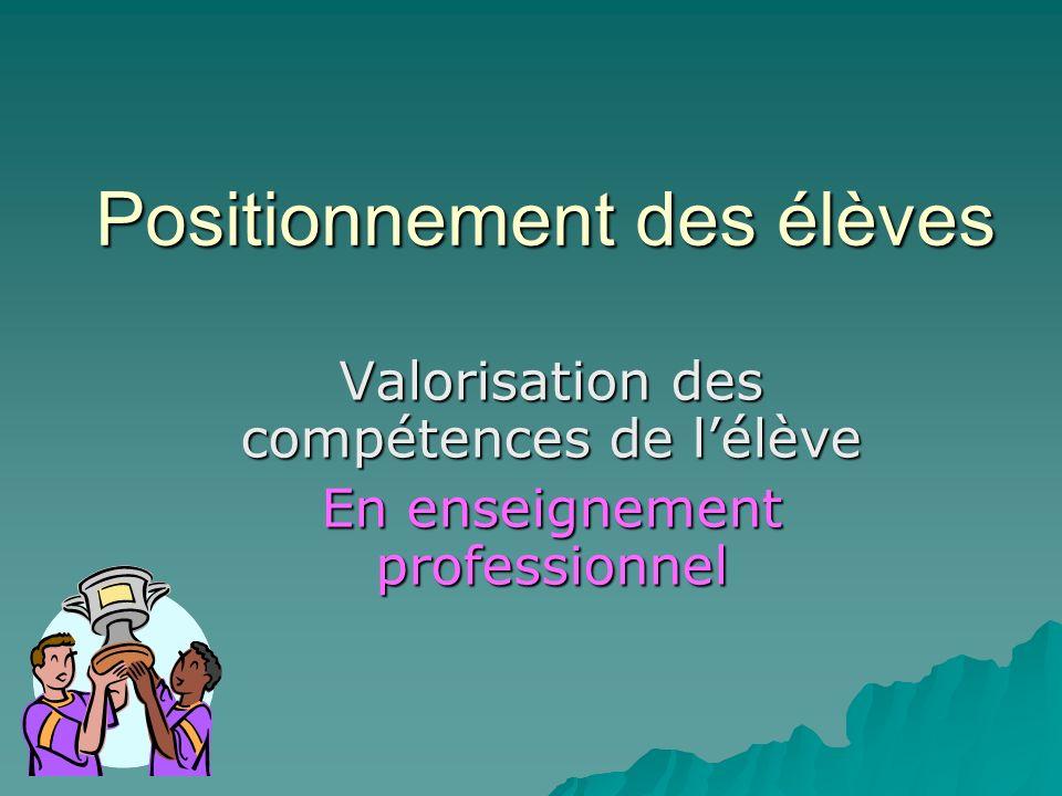 Positionnement des élèves Valorisation des compétences de lélève En enseignement professionnel