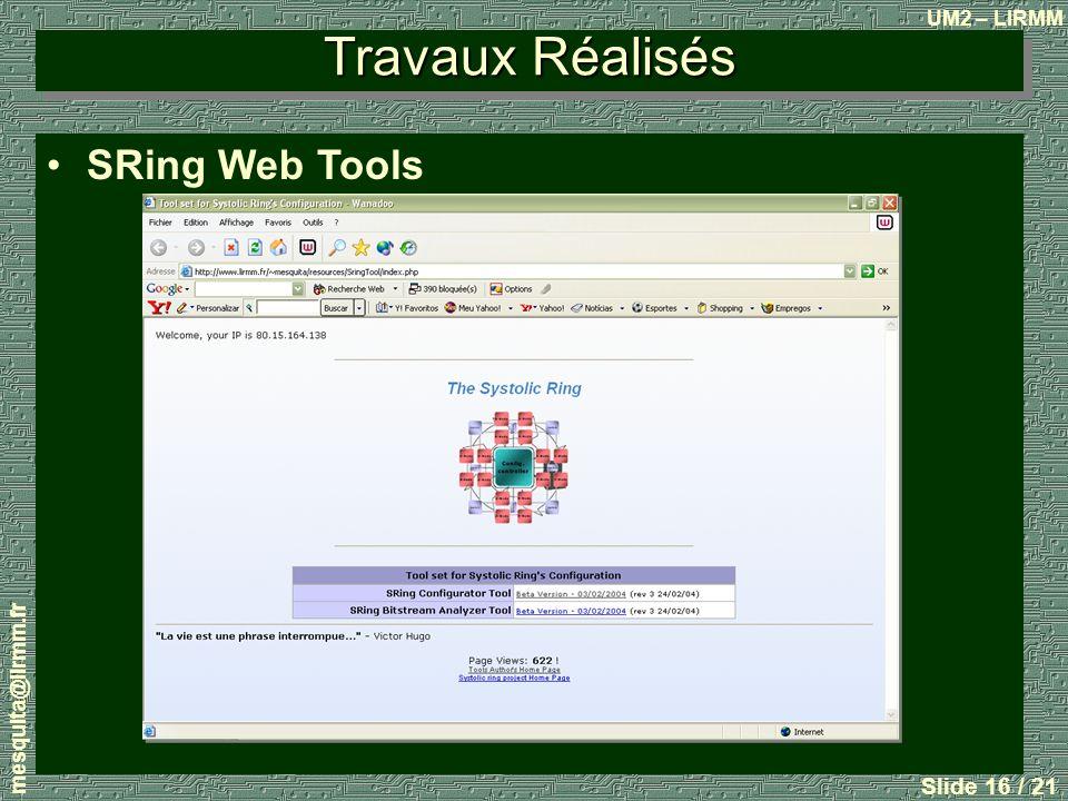 UM2 – LIRMM mesquita@lirmm.fr Slide 16 / 21 Travaux Réalisés SRing Web Tools