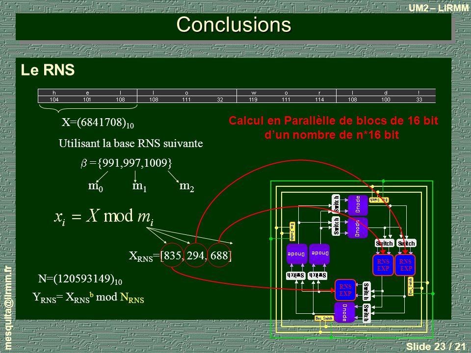 UM2 – LIRMM mesquita@lirmm.fr Slide 23 / 21 Conclusions Le RNS X=(6841708) 10 Utilisant la base RNS suivante ={991,997,1009} X RNS =[835, 294, 688] m0m0 m1m1 m2m2 Y RNS = X RNS b mod N RNS N=(120593149) 10 RNS EXP RNS EXP RNS EXP Calcul en Parallèlle de blocs de 16 bit dun nombre de n*16 bit