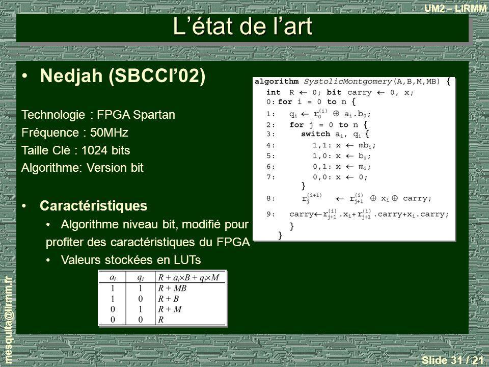 UM2 – LIRMM mesquita@lirmm.fr Slide 31 / 21 Létat de lart Nedjah (SBCCI02) Technologie : FPGA Spartan Fréquence : 50MHz Taille Clé : 1024 bits Algorithme: Version bit Caractéristiques Algorithme niveau bit, modifié pour profiter des caractéristiques du FPGA Valeurs stockées en LUTs
