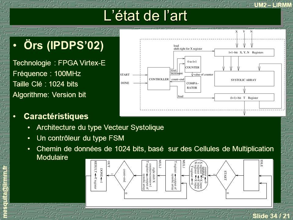 UM2 – LIRMM mesquita@lirmm.fr Slide 34 / 21 Létat de lart Örs (IPDPS02) Technologie : FPGA Virtex-E Fréquence : 100MHz Taille Clé : 1024 bits Algorithme: Version bit Caractéristiques Architecture du type Vecteur Systolique Un contrôleur du type FSM Chemin de données de 1024 bits, basé sur des Cellules de Multiplication Modulaire