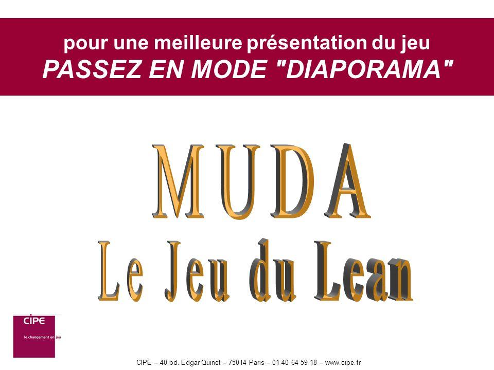 CIPE – 40 bd. Edgar Quinet – 75014 Paris – 01 40 64 59 18 – www.cipe.fr pour une meilleure présentation du jeu PASSEZ EN MODE