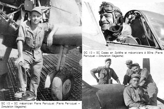 Le GC II/6 à La Réghaïa avec le LV Graignic et lEV1 Mauban, pilotes détachés de lAéronautique Navale, en septembre 1944 (ARDHAN)