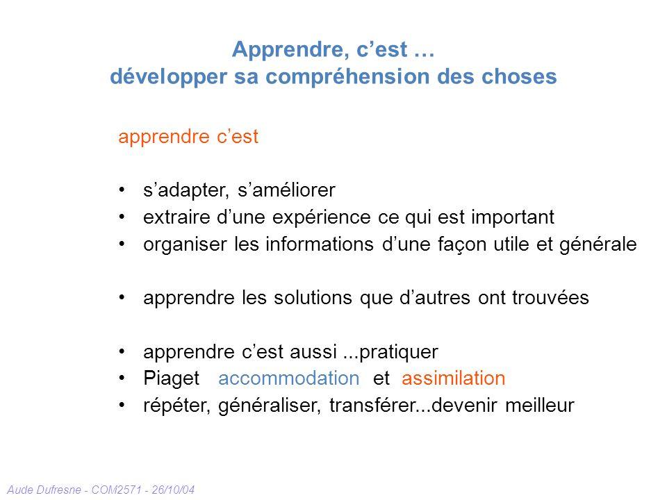 Aude Dufresne - COM2571 - 26/10/04 Apprendre, cest … développer sa compréhension des choses apprendre cest sadapter, saméliorer extraire dune expérien