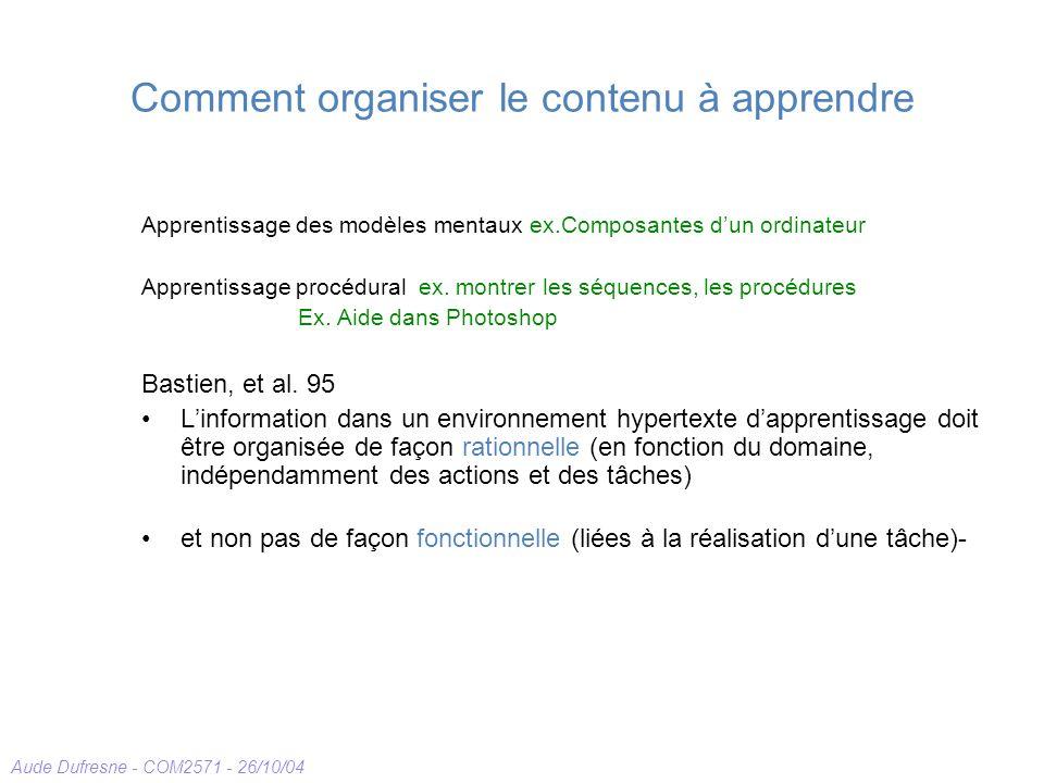 Aude Dufresne - COM2571 - 26/10/04 Comment organiser le contenu à apprendre Apprentissage des modèles mentaux ex.Composantes dun ordinateur Apprentissage procédural ex.