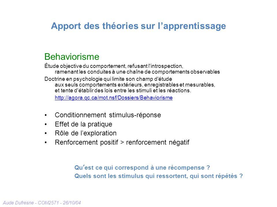 Aude Dufresne - COM2571 - 26/10/04 Apport des théories sur lapprentissage Behaviorisme Étude objective du comportement, refusant l'introspection, rame