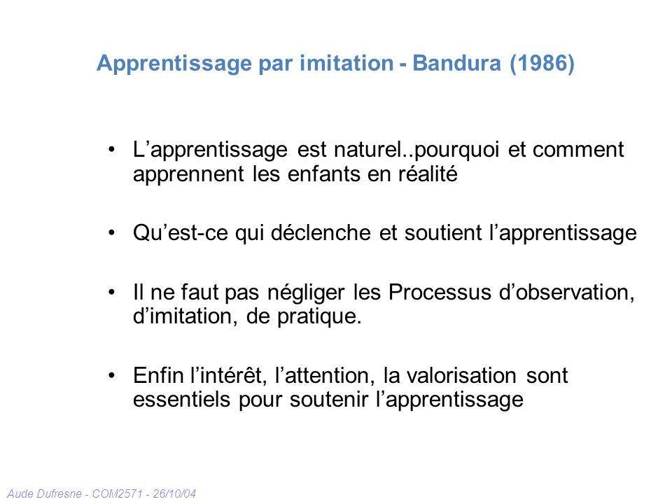 Aude Dufresne - COM2571 - 26/10/04 Apprentissage par imitation - Bandura (1986) Lapprentissage est naturel..pourquoi et comment apprennent les enfants