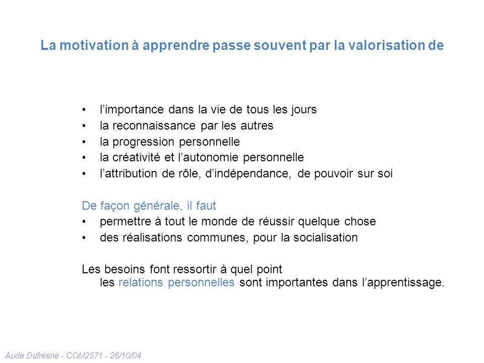 Aude Dufresne - COM2571 - 26/10/04 La motivation à apprendre passe souvent par la valorisation de limportance dans la vie de tous les jours la reconna