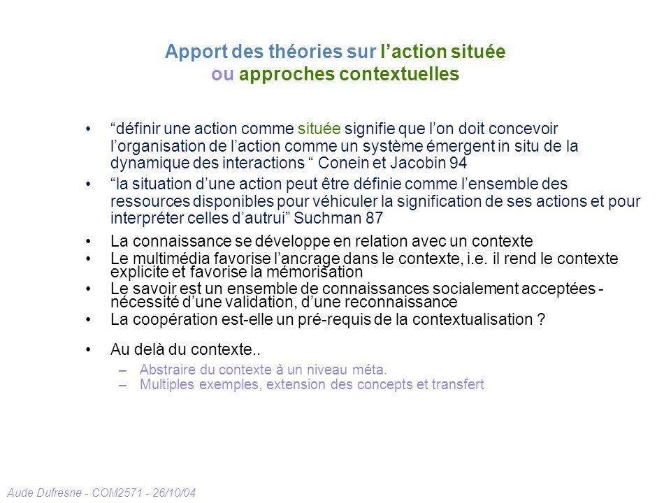 Aude Dufresne - COM2571 - 26/10/04 Apport des théories sur laction située ou approches contextuelles définir une action comme située signifie que lon