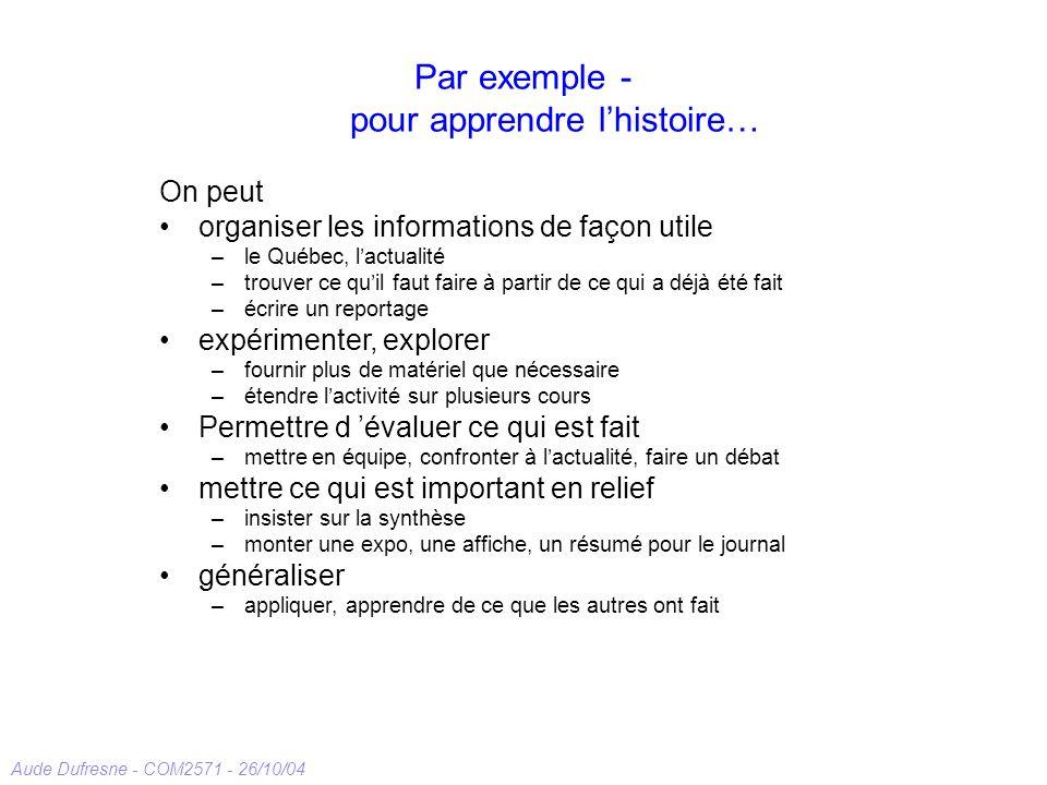 Aude Dufresne - COM2571 - 26/10/04 Par exemple - pour apprendre lhistoire… On peut organiser les informations de façon utile –le Québec, lactualité –t