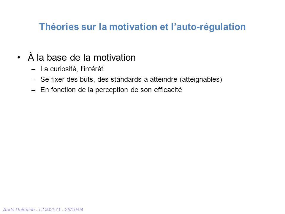 Aude Dufresne - COM2571 - 26/10/04 Théories sur la motivation et lauto-régulation À la base de la motivation –La curiosité, lintérêt –Se fixer des buts, des standards à atteindre (atteignables) –En fonction de la perception de son efficacité