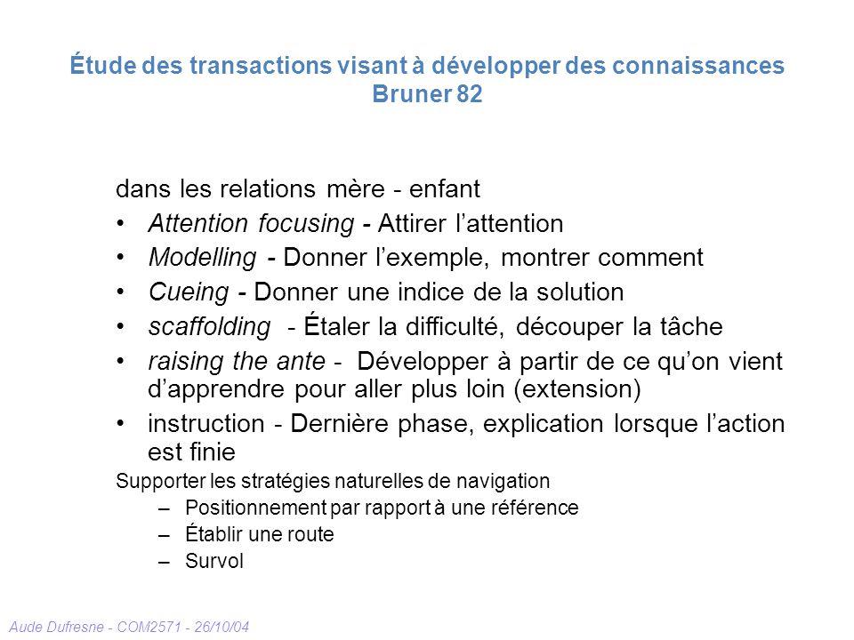 Aude Dufresne - COM2571 - 26/10/04 Étude des transactions visant à développer des connaissances Bruner 82 dans les relations mère - enfant Attention f