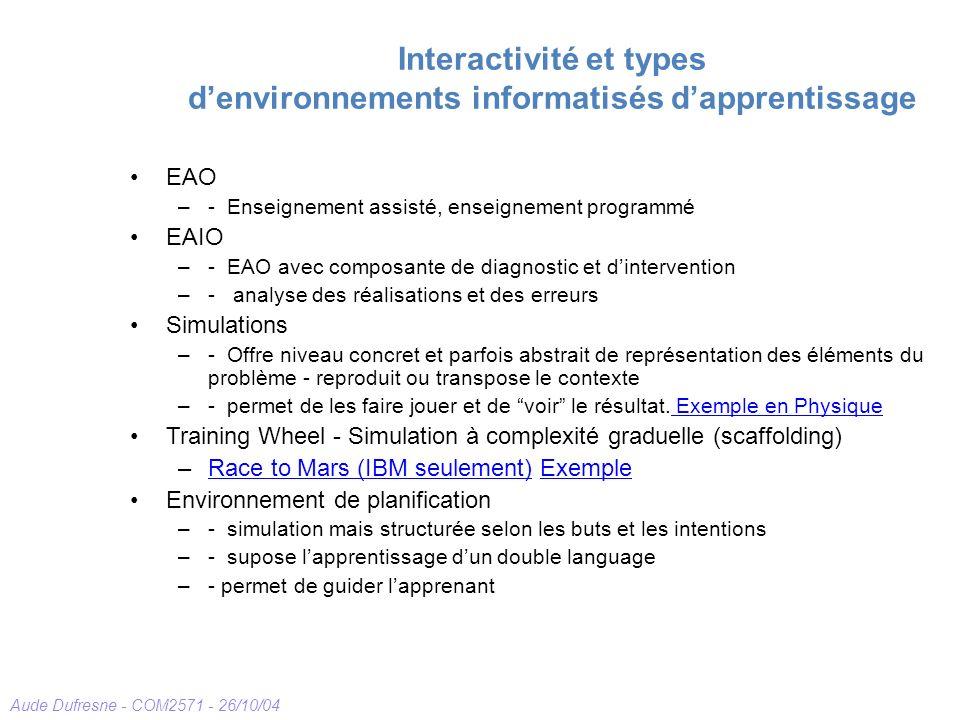 Aude Dufresne - COM2571 - 26/10/04 Interactivité et types denvironnements informatisés dapprentissage EAO –- Enseignement assisté, enseignement progra