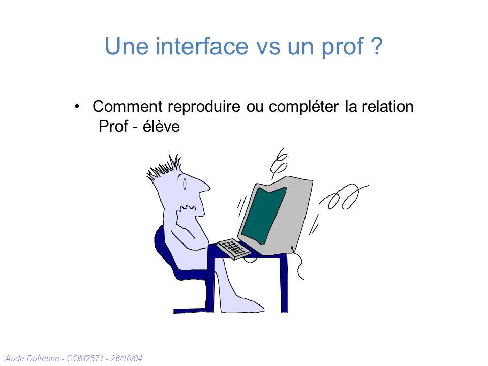 Aude Dufresne - COM2571 - 26/10/04 Une interface vs un prof ? Comment reproduire ou compléter la relation Prof - élève