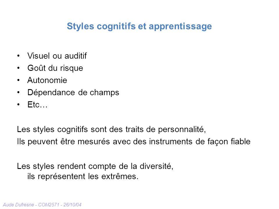 Aude Dufresne - COM2571 - 26/10/04 Styles cognitifs et apprentissage Visuel ou auditif Goût du risque Autonomie Dépendance de champs Etc… Les styles c