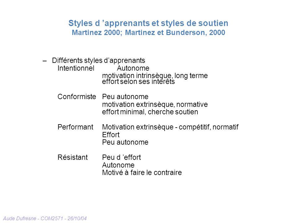 Aude Dufresne - COM2571 - 26/10/04 Styles d apprenants et styles de soutien Martinez 2000; Martinez et Bunderson, 2000 –Différents styles dapprenants