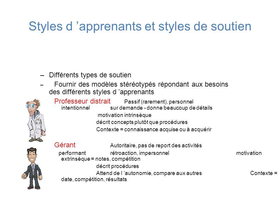 Styles d apprenants et styles de soutien –Différents types de soutien – Fournir des modèles stéréotypés répondant aux besoins des différents styles d