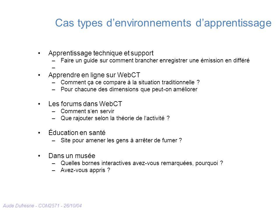 Aude Dufresne - COM2571 - 26/10/04 Cas types denvironnements dapprentissage Apprentissage technique et support –Faire un guide sur comment brancher enregistrer une émission en différé – Apprendre en ligne sur WebCT –Comment ça ce compare à la situation traditionnelle .
