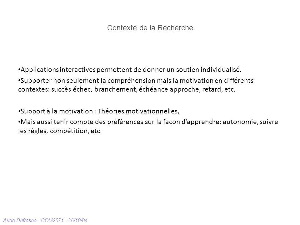 Aude Dufresne - COM2571 - 26/10/04 Contexte de la Recherche Applications interactives permettent de donner un soutien individualisé. Supporter non seu