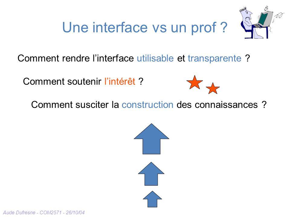 Aude Dufresne - COM2571 - 26/10/04 Une interface vs un prof ? Comment rendre linterface utilisable et transparente ? Comment soutenir lintérêt ? Comme