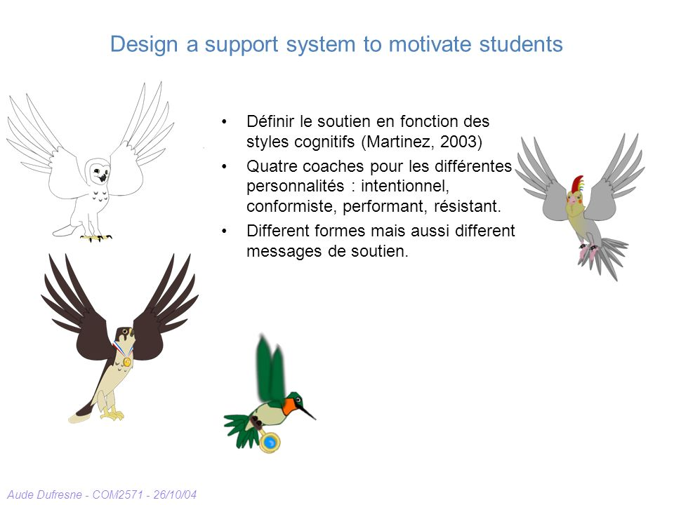 Aude Dufresne - COM2571 - 26/10/04 Design a support system to motivate students Définir le soutien en fonction des styles cognitifs (Martinez, 2003) Quatre coaches pour les différentes personnalités : intentionnel, conformiste, performant, résistant.