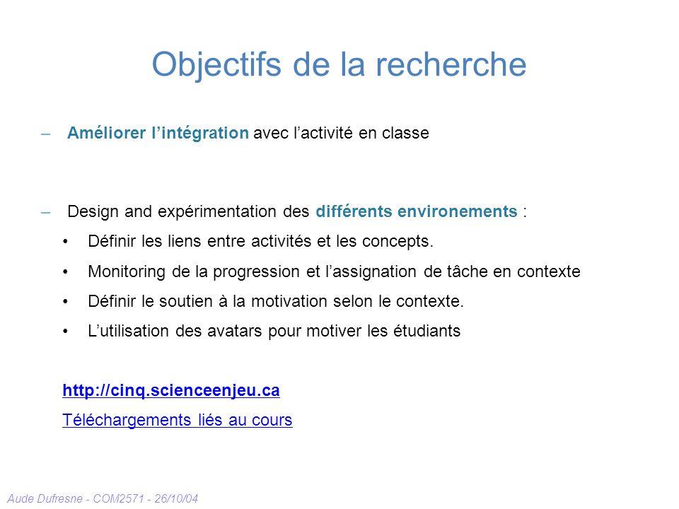 Aude Dufresne - COM2571 - 26/10/04 Objectifs de la recherche –Améliorer lintégration avec lactivité en classe –Design and expérimentation des différents environements : Définir les liens entre activités et les concepts.