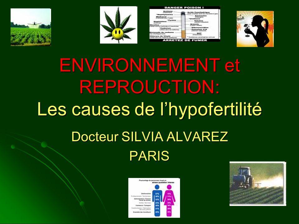 ENVIRONNEMENT et REPROUCTION: Les causes de lhypofertilité Docteur SILVIA ALVAREZ PARIS