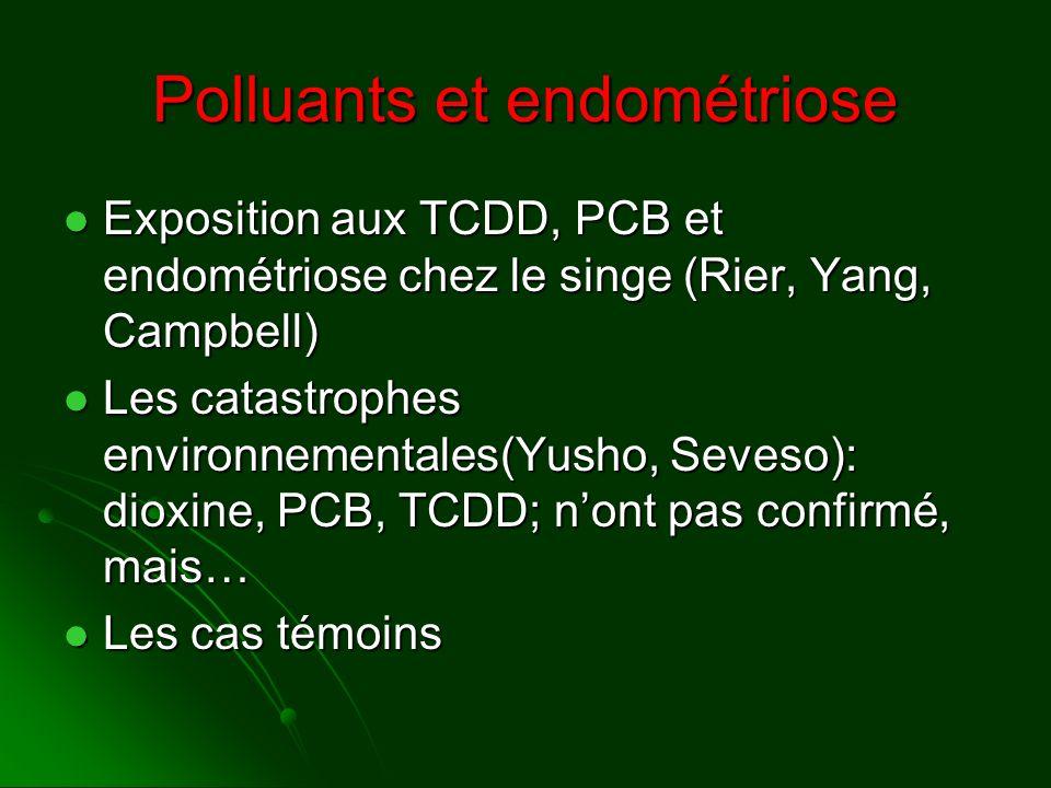 Polluants et endométriose Exposition aux TCDD, PCB et endométriose chez le singe (Rier, Yang, Campbell) Exposition aux TCDD, PCB et endométriose chez