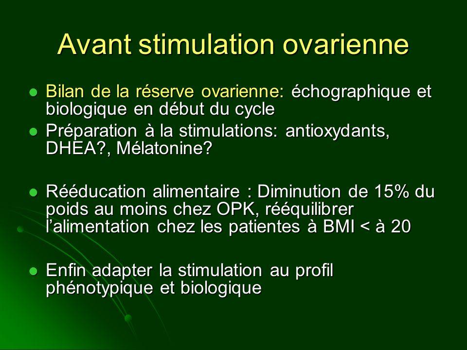 Avant stimulation ovarienne Bilan de la réserve ovarienne: échographique et biologique en début du cycle Bilan de la réserve ovarienne: échographique
