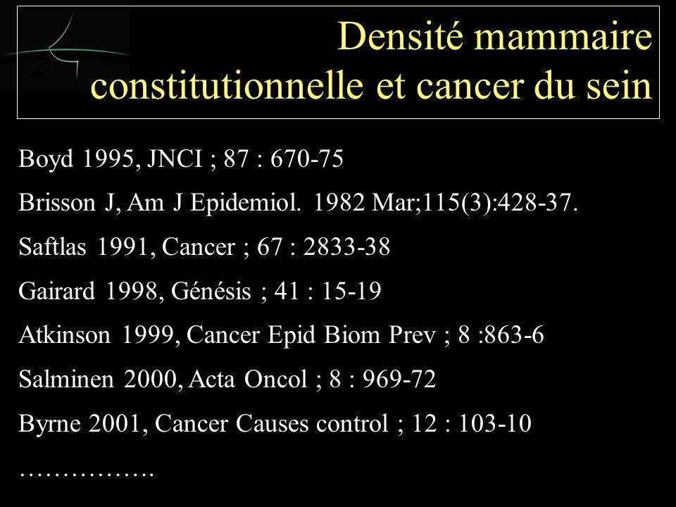Boyd 1995, JNCI ; 87 : 670-75 Brisson J, Am J Epidemiol.