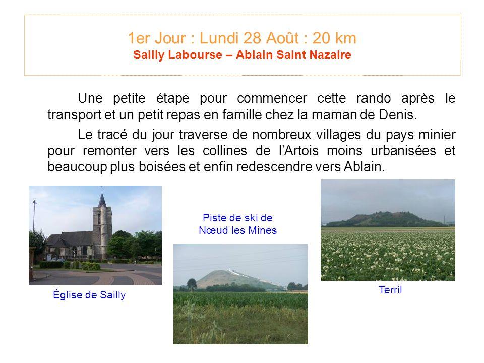 1er Jour : Lundi 28 Août : 20 km Sailly Labourse – Ablain Saint Nazaire Une petite étape pour commencer cette rando après le transport et un petit repas en famille chez la maman de Denis.