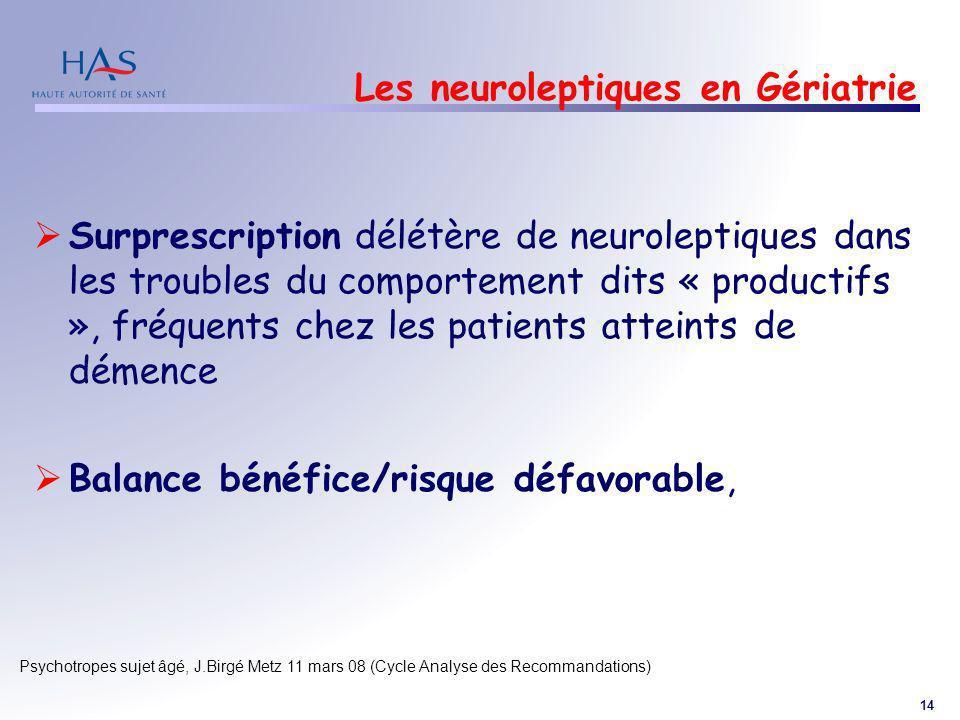 14 Psychotropes sujet âgé, J.Birgé Metz 11 mars 08 (Cycle Analyse des Recommandations) Les neuroleptiques en Gériatrie Surprescription délétère de neu