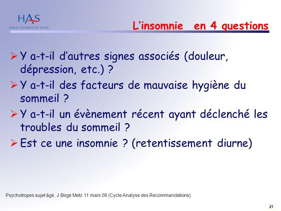 21 Psychotropes sujet âgé, J.Birgé Metz 11 mars 08 (Cycle Analyse des Recommandations) Linsomnie en 4 questions Y a-t-il dautres signes associés (doul