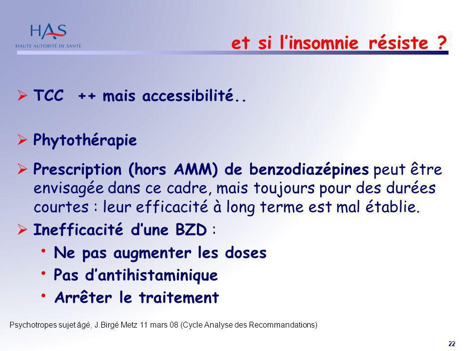 22 Psychotropes sujet âgé, J.Birgé Metz 11 mars 08 (Cycle Analyse des Recommandations) et si linsomnie résiste ? TCC ++ mais accessibilité.. Phytothér
