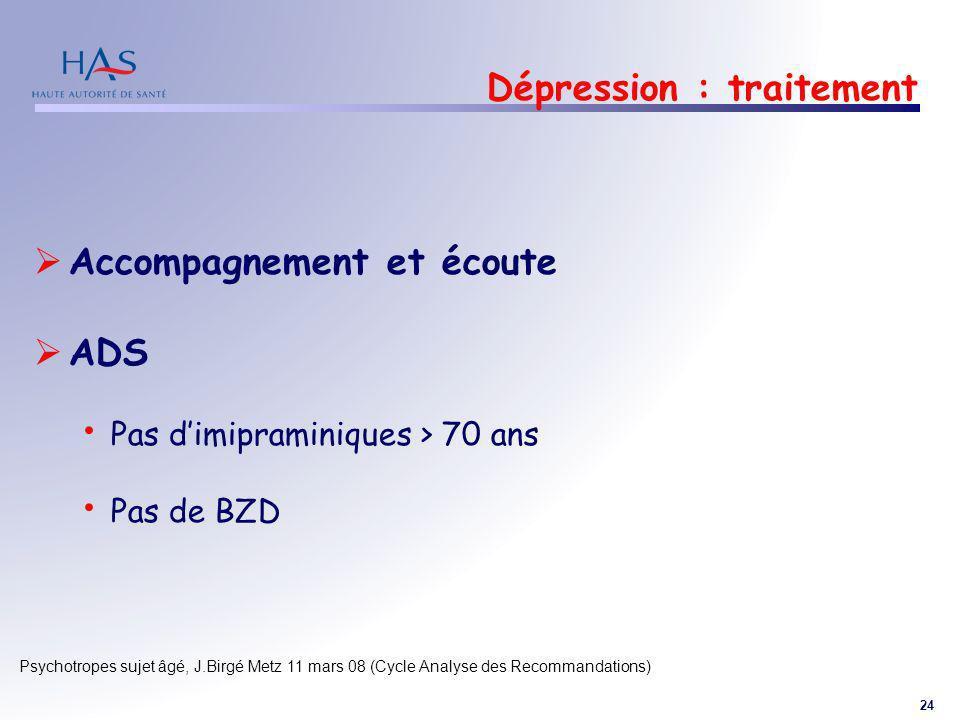 24 Psychotropes sujet âgé, J.Birgé Metz 11 mars 08 (Cycle Analyse des Recommandations) Dépression : traitement Accompagnement et écoute ADS Pas dimipr