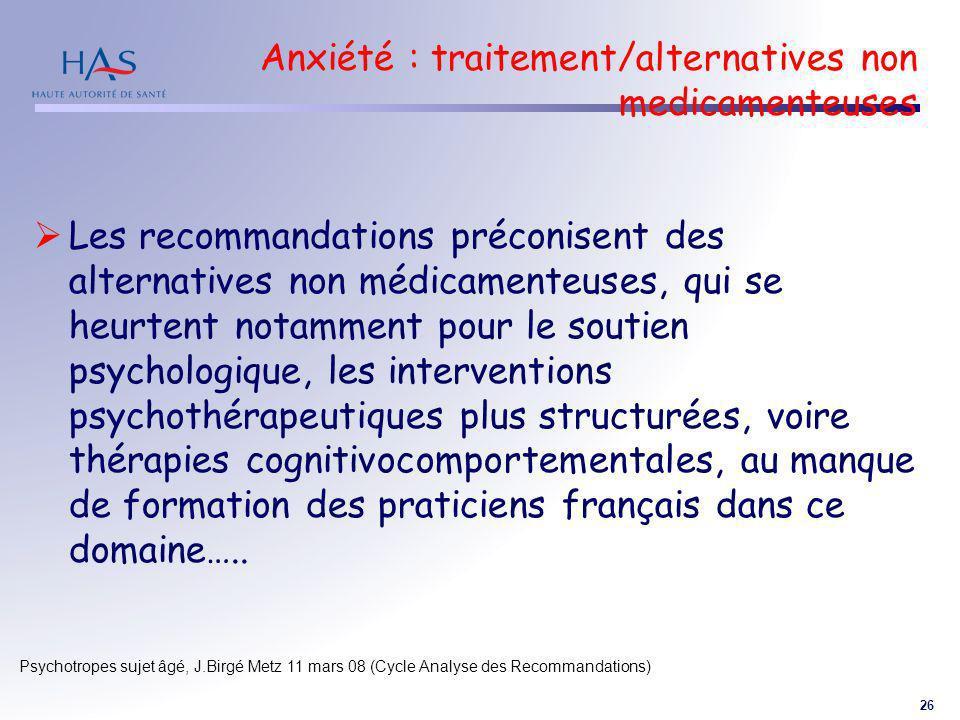 26 Psychotropes sujet âgé, J.Birgé Metz 11 mars 08 (Cycle Analyse des Recommandations) Anxiété : traitement/alternatives non medicamenteuses Les recom