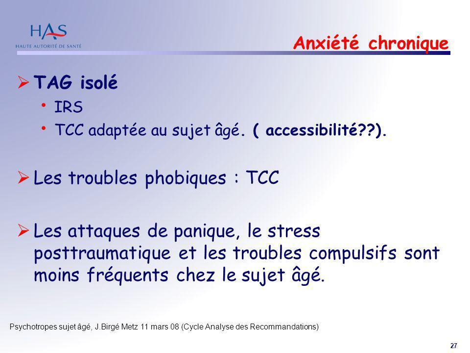 27 Psychotropes sujet âgé, J.Birgé Metz 11 mars 08 (Cycle Analyse des Recommandations) Anxiété chronique TAG isolé IRS TCC adaptée au sujet âgé. ( acc