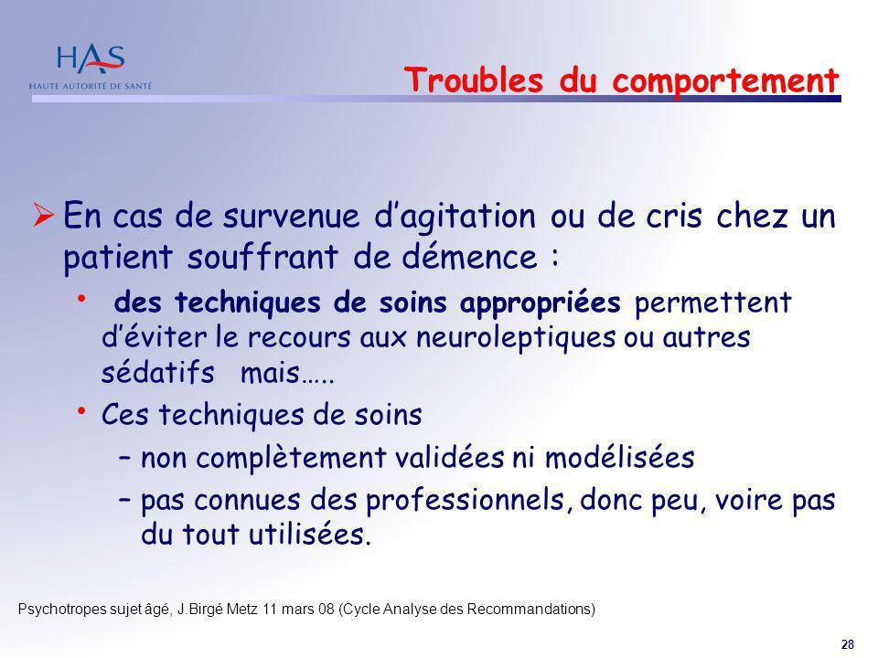 28 Psychotropes sujet âgé, J.Birgé Metz 11 mars 08 (Cycle Analyse des Recommandations) Troubles du comportement En cas de survenue dagitation ou de cr