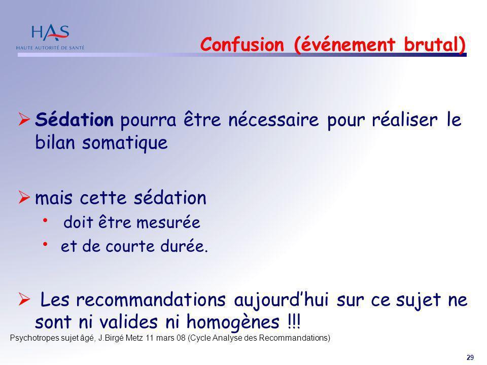 29 Psychotropes sujet âgé, J.Birgé Metz 11 mars 08 (Cycle Analyse des Recommandations) Confusion (événement brutal) Sédation pourra être nécessaire po